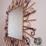 Miroir bois/laine