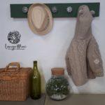 Porte-manteaux vert, patères en céramique