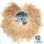 Miroir tête de lion, raphia et liège